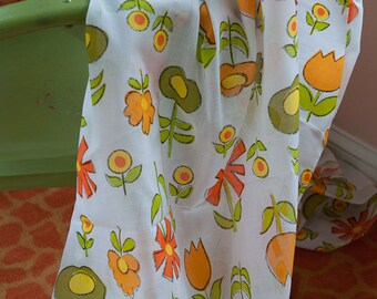 Mod Tulips and Daisies - Vintage Fabric  60s 70s New Old Stock  Juvenile Floral