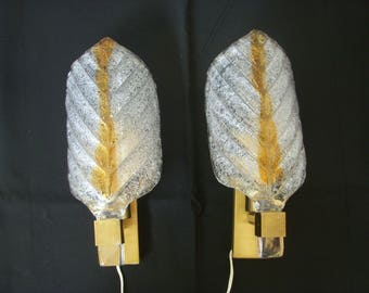 Pair of vintage glass and brass sconces MURANO brushed 1970 brass wall sconce mid century