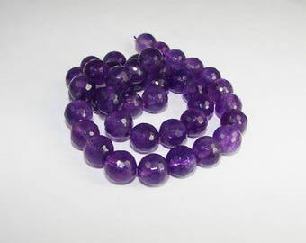 Amethyst 10 mm disco ball. Semi-precious stones.