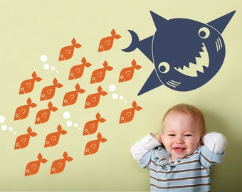 Happy Shark Wall Decal Kids Ocean Shark Room Decor, Under-the Sea Kawaii Baby Nursery Wall Sticker