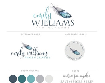 Mini Branding Package, Photography Logo and Watermark, Watercolor Premade Marketing Kit bp53