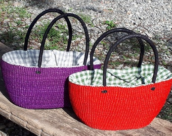 African woven bag, handmade straw tote purse, ecofriendly handwoven bag, leather handles, red or purple color