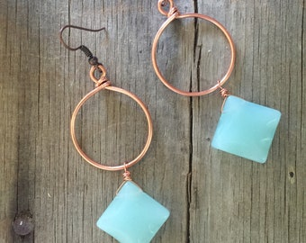 Copper and Blue Glass Earrings