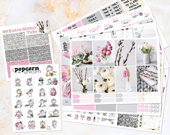Pink Dream set kit weekly stickers - Erin Condren VERTICAL Planner - floral flowers gray glitter roses cattails  glamour matte vinyl photo