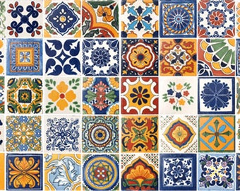50 Assorted Mexican Ceramic 4x4 inch Hand Made Tiles