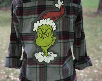 Upcycled Flannel Shirt ... The Grinch ... Dr. Seuss... black gray red green christmas plaid