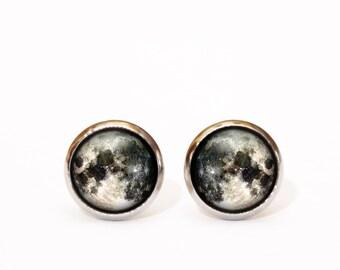Full moon stud earrings, Tiny stud earrings, Space jewelry, Moon earrings, Mens earrings, Gift for Her, Christmas gift, Everyday earrings UK