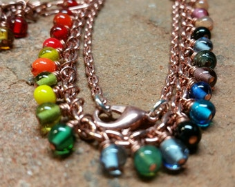 Rainbow Necklace and Big Earrings - Handmade -Colorful Czech Glass, Pure Copper, and Sterling Silver Accents