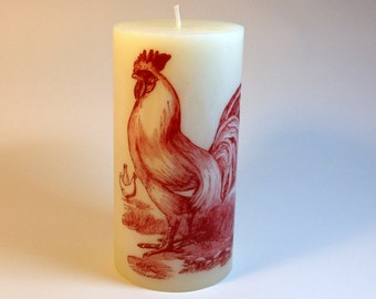Red Rooster Kitchen Candle, Country Kitchen Decor Rooster Decor, Chicken Decor, Rooster Art, Backyard Chickens, Decorative Candle,