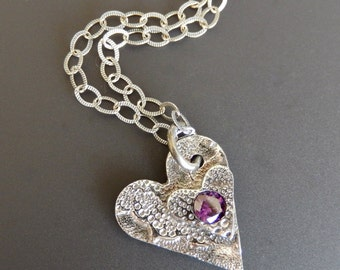 Sterling Silver Necklace Pendant Oxidized Double Heart with Amethyst CZ on 18 inch Etched Sterling Link Chain with Lobster Claw Clasp
