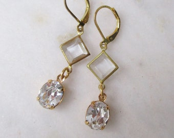Swarovski crystal and vintage glass drop earrings, vintage square clear glass earrings, raw brass geometric earrings with vintage elements