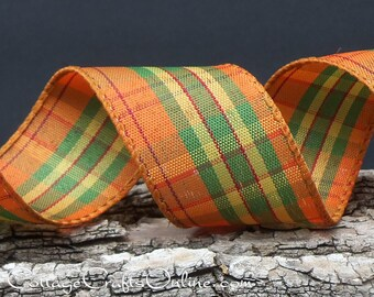 """Fall Wired Ribbon, 1 1/2"""" wide, Orange, Green, Yellow Cranberry Plaid - THREE YARDS -  """"Fall Prize 9"""",  Thanksgiving Wire Edged Ribbon"""