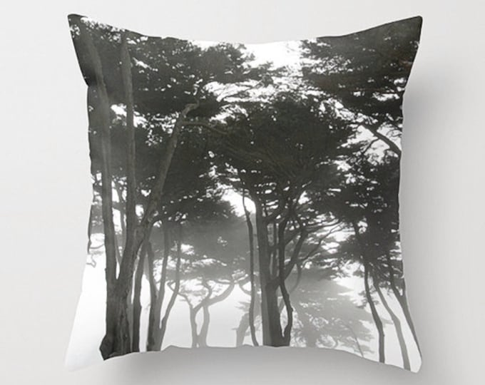 Forest Landscape Sofa Pillow, Muted Accent Pillow, Neutral Throw Pillow Cover, 18x18 22x22 Decorative Pillow Cushion