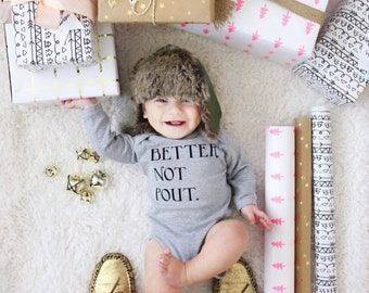 Better Not Pout Bodysuit, Funny Baby Clothes, Santa Outfit, First Christmas, Photoshoot Inspo, Holiday Party, Christmas Eve, New Mom Gift