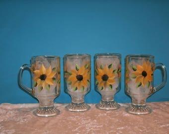 SUNFLOWER IRISH COFFEE mugs, set of four