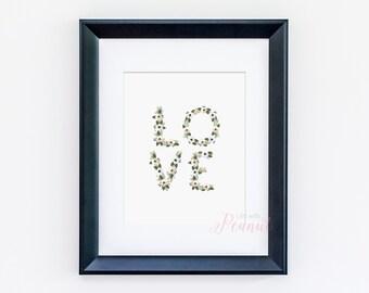 Love Art Print, Love Print, Love Wall Art - Nursery Print, Nursery Decor, Nursery Art Print, Nursery Wall Art - Floral Love Letters -