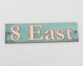 """Upcycled  House Address Plaque in Copper, 2"""" high characters in Garamond - plywood backed polished, laquered and patinated g"""