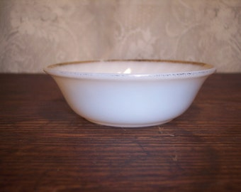 Vintage Fire King Jane Ray Berry Bowl white milk glass with gold trim