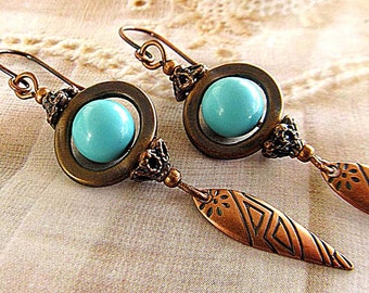 turquoise earrings / copper drop earrings /Rustic stone earrings / boho dangle earrings bohemian jewelry