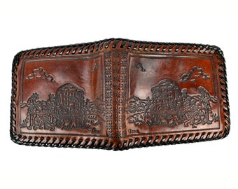 Tooled Leather Wallet Vintage Mens 1950s Western Themed Billfold with Stagecoach Cowboys Marked Gene