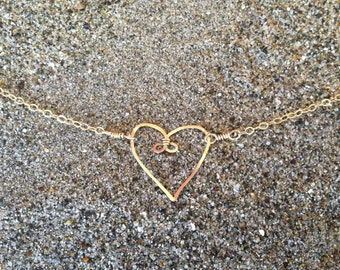 Heart Necklace, Tiny Heart Pendant, Gold Fill, Sterling Silver