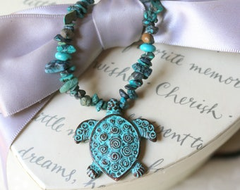 Mykonos Sea turtle on turquoise chip bead necklace