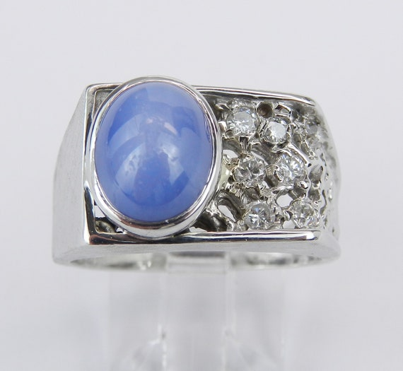 Vintage Antique 14K White Gold Unisex Blue Star Sapphire and Diamond Ring Size 7.75