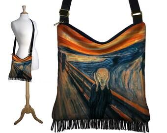 Hippie Bag Hobo Purse Crossbody Slouch Bag Gyspy Boho Fringe Bag, The Scream Edvard Munch Fine Art Bag blue orange black steampunk RTS