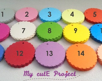 25 Gift tags | Party favor | Party decoration | Tags | Scalloped circles | Color of your choice