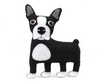 Boston Terrier Sewing Pattern, Felt Dog Hand Sewing Pattern, Sew a Boston Bull Terrier, Easy Stuffed Animal DIY, Instant Download PDF