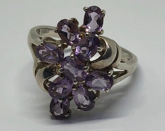 Beautiful Sterling Silver Genuine Amethyst Ring Size 10
