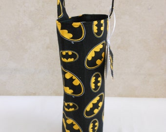 Batman wine tote theme party bag, single bottle carrier, fun gift for people who love Batman, birthday gift for him/her, liquor carrier