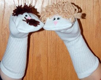 Mère et père chaussette marionnettes