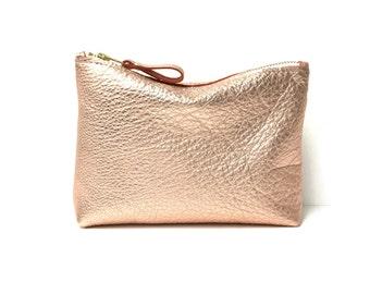 Leather Makeup Bag // Small Metallic Leather Pouch // Small Leather Clutch In Rose Gold // Small Leather Bag // Leather Cosmetic Bag