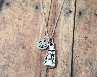 Snowman initial necklace - snowman jewelry, Christmas jewelry, winter necklace, holiday jewelry, Christmas necklace, silver snowman necklace