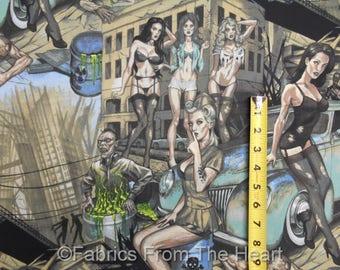 Zombie Apocalpse Pin-Up Girls Hot Rod Autos in Petrol von YARDS Ach Baumwoll-Stoff