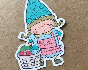 Laundry Day Gnaomi, Die Cut, Gnome, Travelers Notebook Supplies, Bookmark