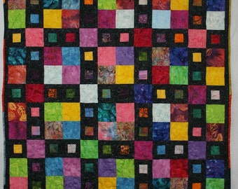 Batik Quilt, Modern Quilt, Multicolor Quilt, Lap Quilt, Q016 City Windows Lap Quilt