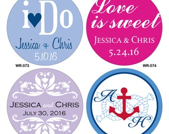 100 - 2 inch Custom Glossy Waterproof Wedding Stickers Labels - hundreds of designs to choose from - change designs to any color or wording