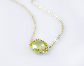 Cushion cut solitaire necklace, single stone necklace, faceted glass, framed glass necklace, bridesmaid gift