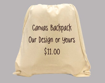 NEW --  Simple Canvas Natural Colored BACKPACK printed with Any Image