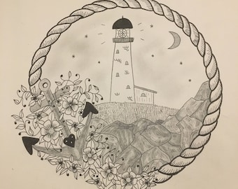 Lighthouse Love Wall Art Print of Original Ink Drawing - Limited Edition Signed Illustration