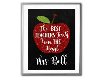 SALE-The Best Teachers Teach From The Heart-Digital Print-Wall Art-Digital Designs-Quote Printable-Typography Art Print-Teacher Gift