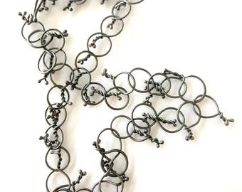 Tassel Silver Necklace Forged Wrought Twisted Oxidized Lightseight Handmade chain