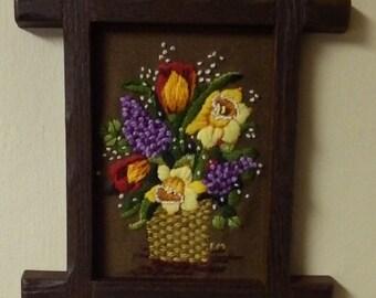Vintage Flowers in Basket Needlepoint Wall Hanging Framed