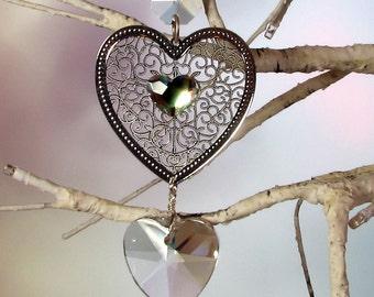 Crystal Heart Sun Catcher, Christmas Ornament, Silver Filigree Heart, 1S-2