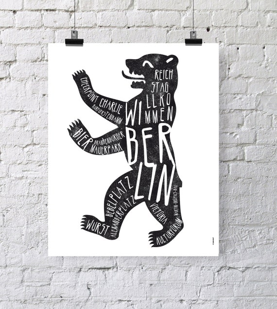 Berlin. Germany. Poster. Wall decor art. Illustration. Digital print. City.  Bear. Travel. 15,75x19,69 inch