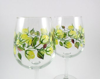 Wine Glasses Yellow Roses Hand Painted Flowers - Set of 2