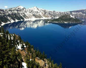 Crater Lake Oregon Snow in Summer - Nature Photography For Sale