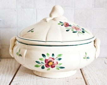 "Small Antique French DIGOIN SARREGUEMINES ""Amazonas"" Ironstone Bowl Tureen 